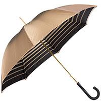 Бежевый зонт-трость Pasotti с полосатой внутренней частью, фото