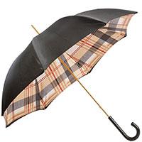 Черный зонт-трость Pasotti с кожаной ручкой, фото