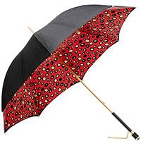 Черный зонт-трость Pasotti с декором-камнем на ручке, фото