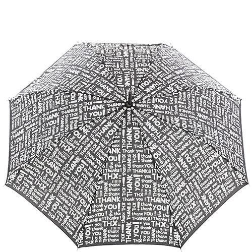 Зонт-трость Baldinini черного цвета с белым принтом, фото