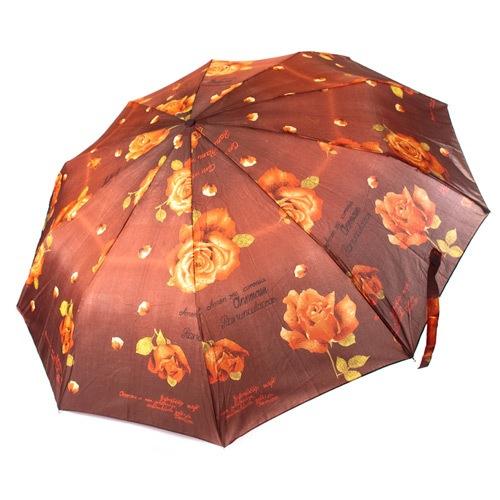 Роскошный женский автоматический зонт Три Слона коричневый, фото