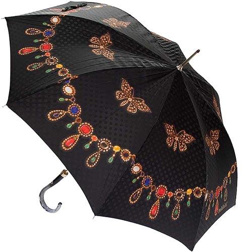 Женский зонтик-трость Baldinini с принтом в форме драгоценностей и в фирменной упаковке, фото