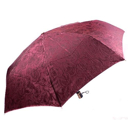 Красивый женский зонт автоматический Три Слона бордовый, фото
