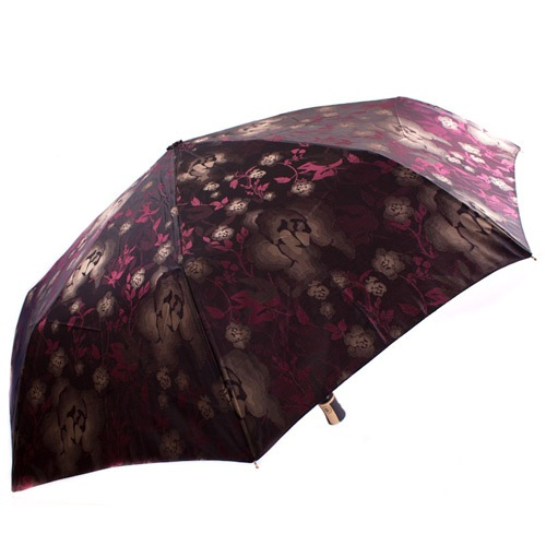 Яркий женский зонт автоматический Три Слона коричневый с темно-красными цветами, фото