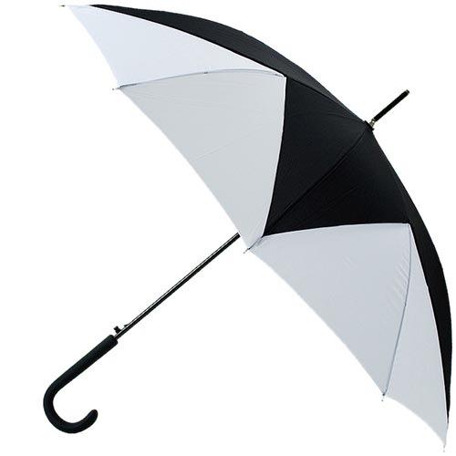 Черно-белый геометрический зонт Ferre в форме трости в фирменной упаковке, фото
