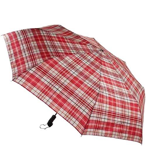 Большой клетчатый зонт Ferre красного цвета с автоматическим механизмом, фото