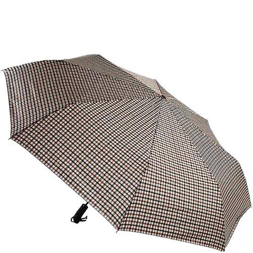 Складной зонт большого диаметра Ferre в мелкую черно-бежевую клетку, фото