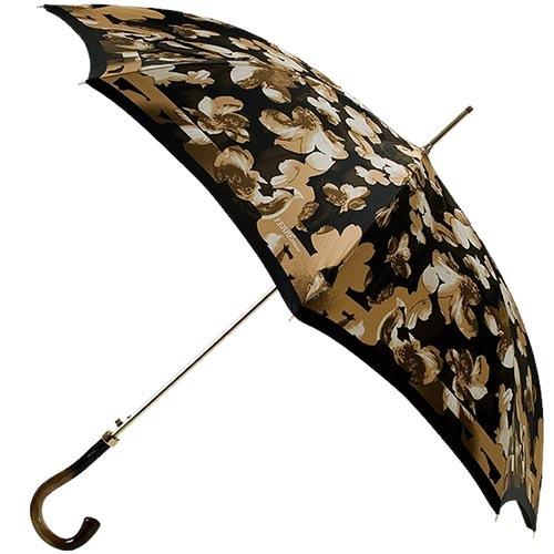 Коричневый флористичный зонт Ferre в форме трости с полуавтоматическим режимом, фото