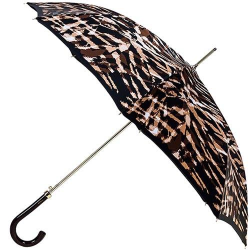 Женский зонт-трость Ferre с принтом в коричневых тонах и тефлоновой пропиткой купола, фото