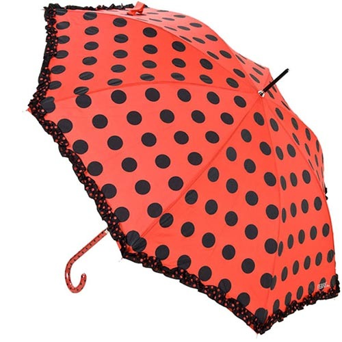 Большой зонт-трость Ferre красного цвета в черный горох, фото