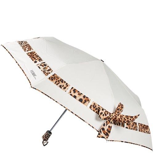 Белый автоматический зонт Ferre с леопардовым принтом-полоской, фото
