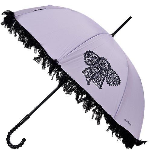Женственный механический зонт-трость Chantal Thomass с рюшами и принтом-бантиком, фото