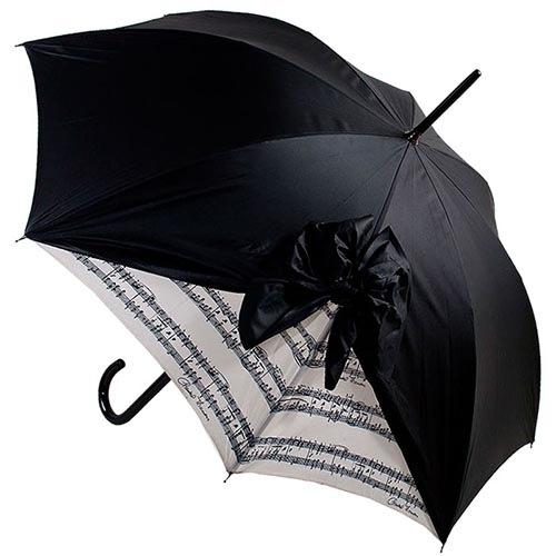 Дизайнерский зонт-трость Chantal Thomass черного цвета с игривым бантом с драпировкой и нотным принтом, фото
