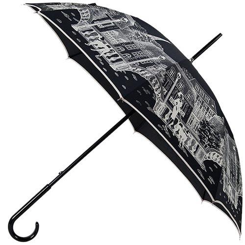 Большой женский зонт-трость Guy de Jean с белым ненавязчивым принтом, фото