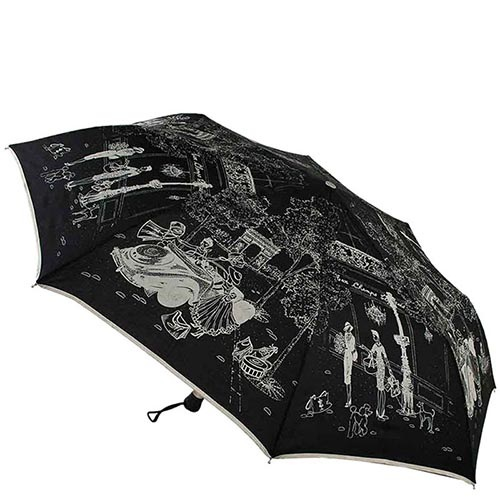Большой женский черный зонт Guy de Jean с тефлоновой пропиткой и ненавязчивым принтом, фото