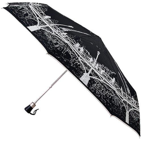 Черный зонт с силуэтом города Guy de Jean в три сложения, фото