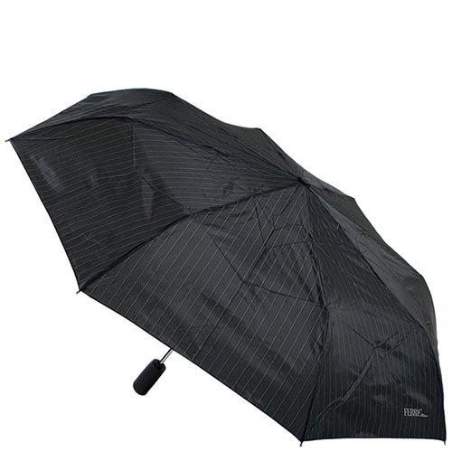 Черный классически зонт Ferre в тонкую полоску с полуавтоматическим механизмом, фото
