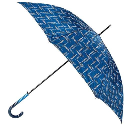 Женский зонт-трость Ferre синего цвета с мелким принтом в фирменной упаковке, фото