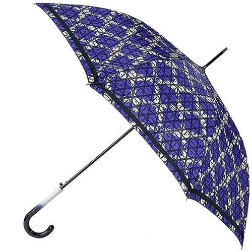 Фиолетовый зонт-трость Ferre с контрастным принтом и полуавтоматическим механизмом, фото