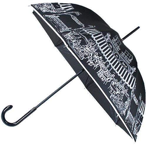 Женский механический зонт-трость Guy de Jean черного цвета с рисунком улочек, фото