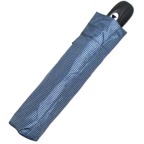 Зонт-автомат Derby в 3 сложения с 8 спицами в мелкую серо-голубую клетку, фото