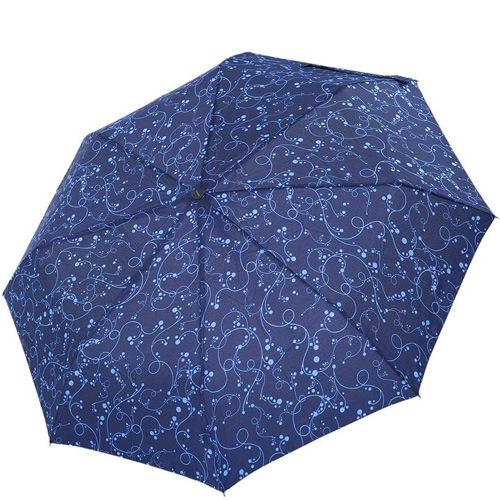Зонт-полуавтомат Derby в 3 сложения синий с ажурным рисунком, фото