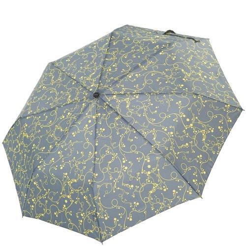 Зонт-полуавтомат Derby в 3 сложения серый с желтым ажурным рисунком, фото