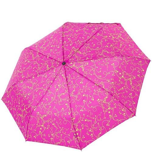 Зонт-полуавтомат Derby в 3 сложения ярко-розовый с желтым ажурным рисунком, фото