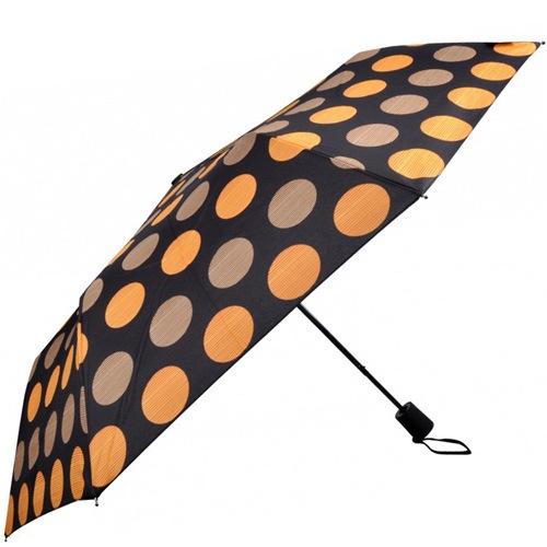 Зонт-полуавтомат Doppler в 3 сложения с 8 спицами в оранжевый и бежевый горох, фото