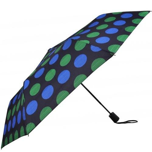 Зонт-полуавтомат Doppler в 3 сложения с 8 спицами в синий и зеленый горох, фото