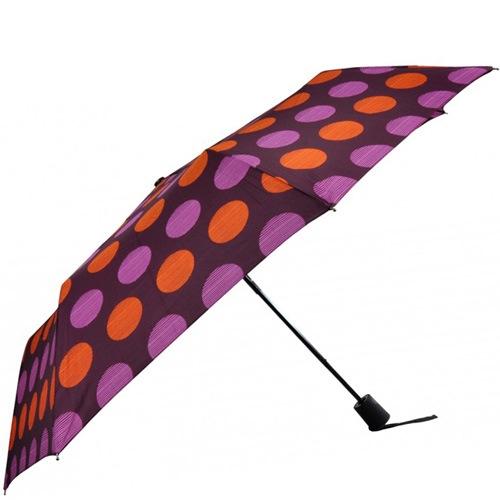 Зонт-полуавтомат Doppler в 3 сложения с 8 спицами в розовый и оранжевый горох, фото