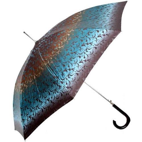 Зонт-трость Doppler женский диаметром 106 см с узорным принтом в коричнево-синих тонах, фото