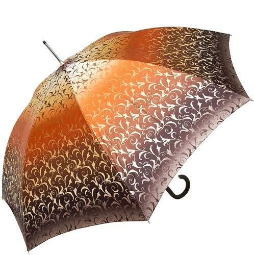 Зонт-трость Doppler SATIN автомат в коричневых и оранжевых тонах с роскошным ажурным орнаментом, фото