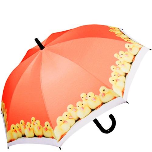 Зонт-трость Doppler полуавтоматический детский оранжевый с утятами, фото