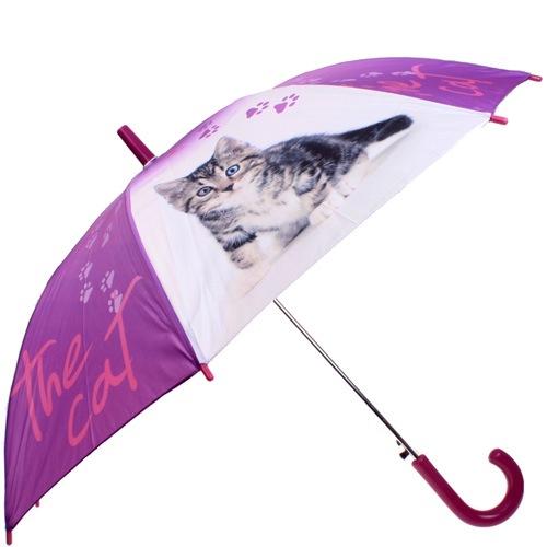 Зонт-трость Doppler полуавтоматический детский сиреневый с котятами, фото