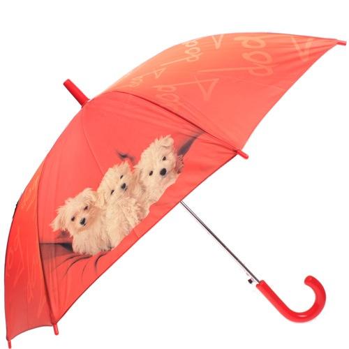 Зонт-трость Doppler полуавтоматический детский оранжевый с щенками, фото