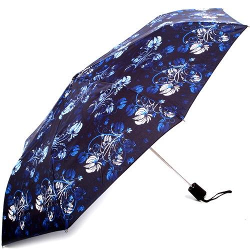 Зонт-полуавтомат Doppler Carbon антиветер в 3 сложения синий с цветочным принтом, фото
