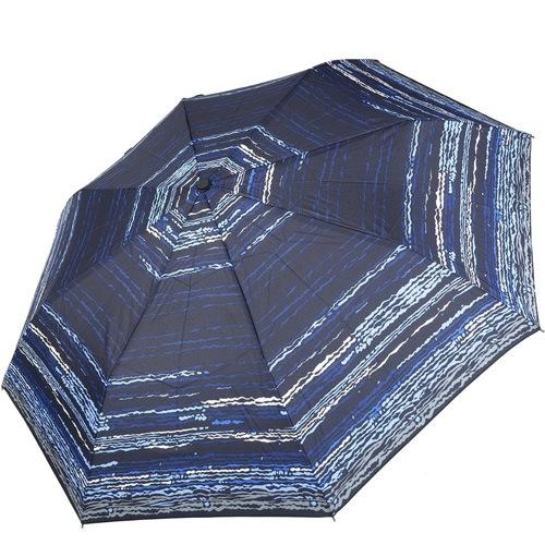 Зонт-полуавтомат Doppler Carbon антиветер в 3 сложения синий и зеленый с горизонтальными полосами, фото