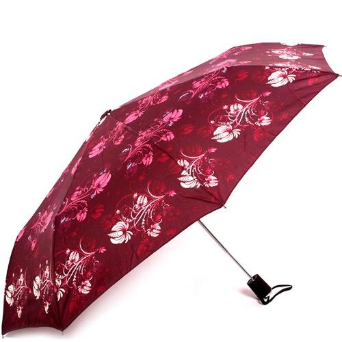 Зонт-полуавтомат Doppler Carbon антиветер в 3 сложения бордовый с цветочным принтом, фото