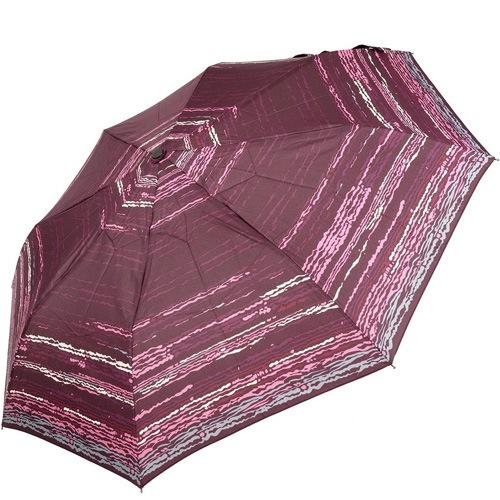Зонт-полуавтомат Doppler Carbon антиветер в 3 сложения бордовый и коричневый с горизонтальными полосами, фото