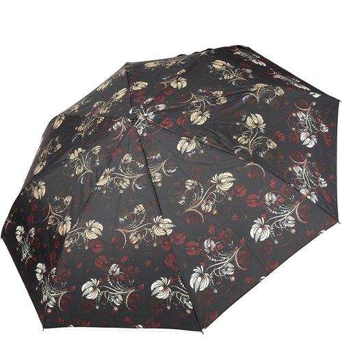 Зонт-полуавтомат Doppler Carbon антиветер в 3 сложения коричневый с цветочным принтом, фото