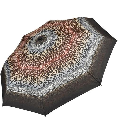 Зонт-полуавтомат Doppler Carbon антиветер в 3 сложения коричневый и бордовый с леопардовым принтом, фото