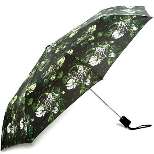 Зонт-полуавтомат Doppler Carbon антиветер в 3 сложения зеленый с цветочным принтом, фото