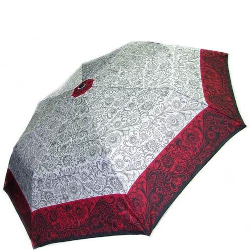 Зонт-полуавтомат Doppler женский 73016518 узорный белого цвета с красным кантом, фото
