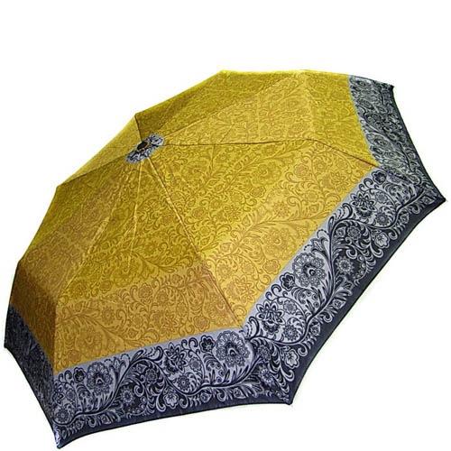 Зонт-полуавтомат Doppler женский 73016518 желтого цвета с узорным кантом серого цвета, фото