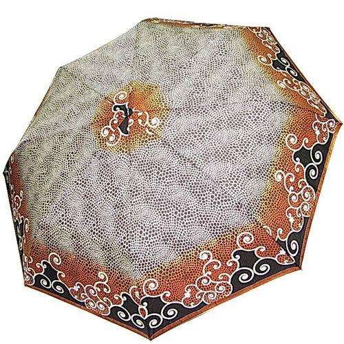 Зонт-полуавтомат Doppler женский 73016519 серого цвета в точечный принт с коричневым кантом, фото