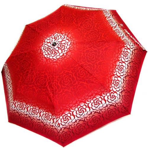 Зонт-полуавтомат Doppler женский 73016519 красного цвета с белыми узорами и темно-красным кантом, фото