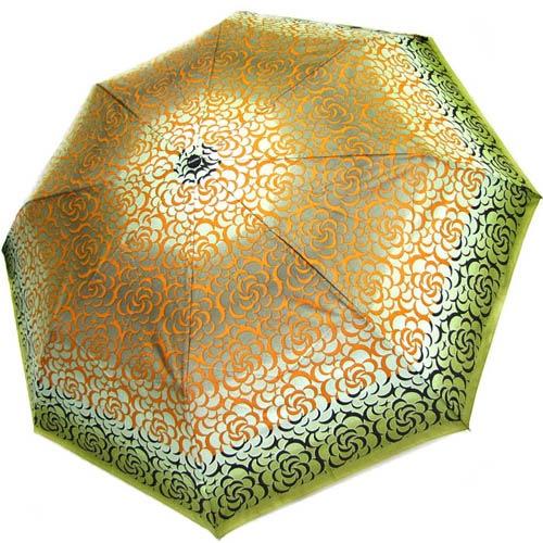 Зонт-полуатомат Doppler женский 73016519 зеленого цвета с оранжевым узором, фото
