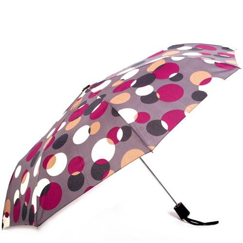 Зонт-полуавтомат Doppler Carbon антиветер в 3 сложения серо-лиловый в разноцветный горох, фото