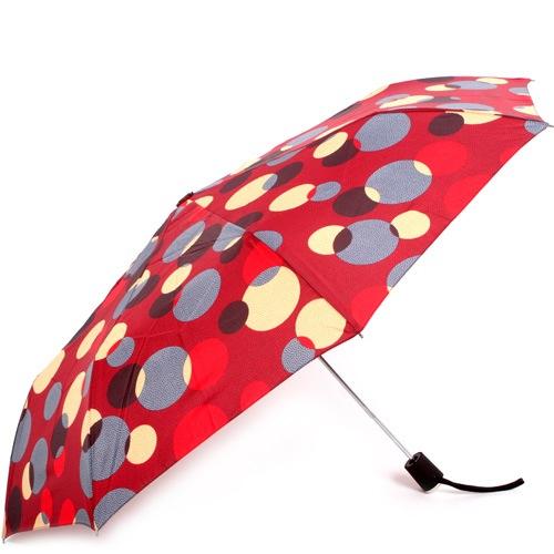 Зонт-полуавтомат Doppler Carbon антиветер в 3 сложения красный в разноцветный горох, фото